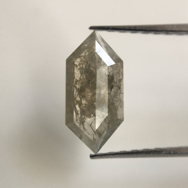 1.15 Ct Gray Color Hexagon shape Natural Loose Diamond, 11.50 mm X 5.40 mm Fancy Grey Transparent Color Diamond Use for Jewellery SJ17/07 - Amba Jewel