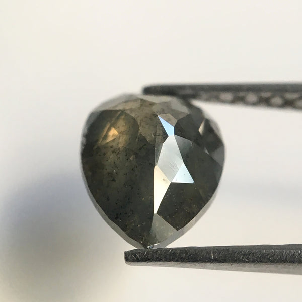 Genuine 1.23 Ct Dark Grey Color Pear Cut  Natural Diamond, 7.90 mm X 6.15 mm Grey Rose Cut Pear Natural Diamond SJ18/19 - Amba Jewel