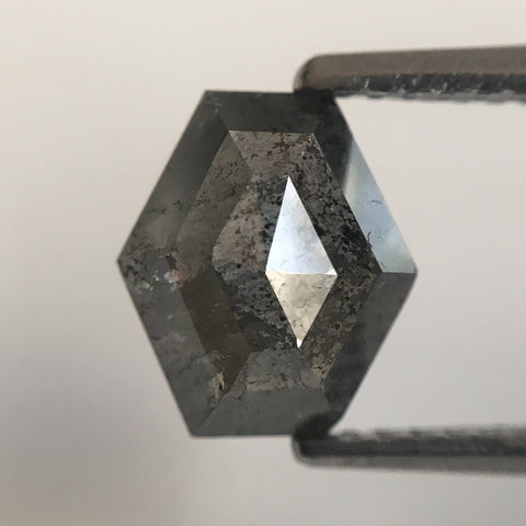 Natural Diamond Elongated Hexagon Shape 2.01 Ct 8.10 mm X 7.20 mm, Fancy Dark Grey Hexagon Cut  diamond  SJ20/17 - Amba Jewel