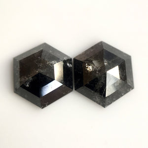 Pair 1.30 Ct Natural Diamond Hexagon Shape 6.10 mm X 5.80 mm Fancy Dark Grey Color Hexagon Cut  diamond  making - Amba Jewel