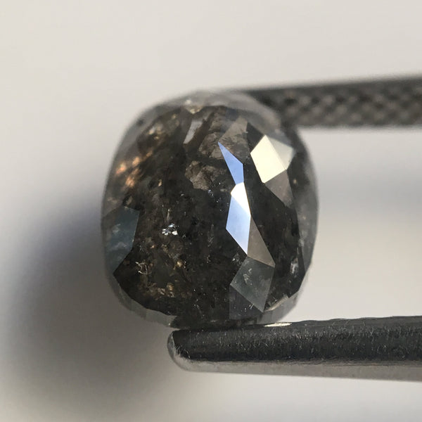 2.15 Ct Rose Cut Oval Shape Natural Loose Diamond Dark Grey Black Color, 8.5 mm x 6.5 mm Size Beautiful sparkling perfect for Ring SJ21/06 - Amba Jewel
