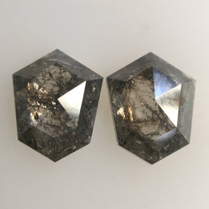 1.78 Ct Pair Natural Shield Shape loose Diamond 7.70 mm X 6.15 mm x 2.45 mm, Fancy Grey Polished Loose Diamond best for Earrings SJ25/07 - Amba Jewel