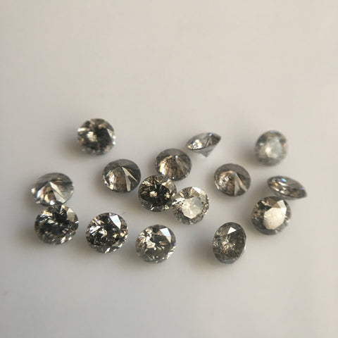 1.00 Ct lot, 2.50 mm to 2.60 mm Natural Salt and Pepper Round Brilliant Cut Diamond, 13 to 15 Pcs Diamond, Polished Round Cut Diamond - Amba Jewel