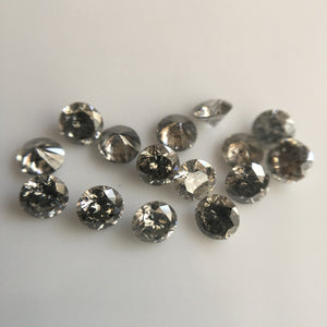 1.00 Ct lot, 1.70 mm to 1.80 mm Natural Salt and Pepper Round Brilliant Cut Diamond, 38 to 48 Pcs Diamond, Polished Round Cut Diamond - Amba Jewel