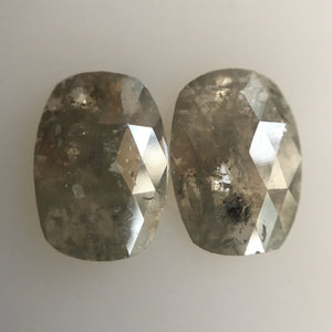 2.76 Ct Natural grey color oval Rose cut  diamond, 10.00 mm x 7.00 mm perfect Diamond  or couple rings or pendants AJ04/04 - Amba Jewel