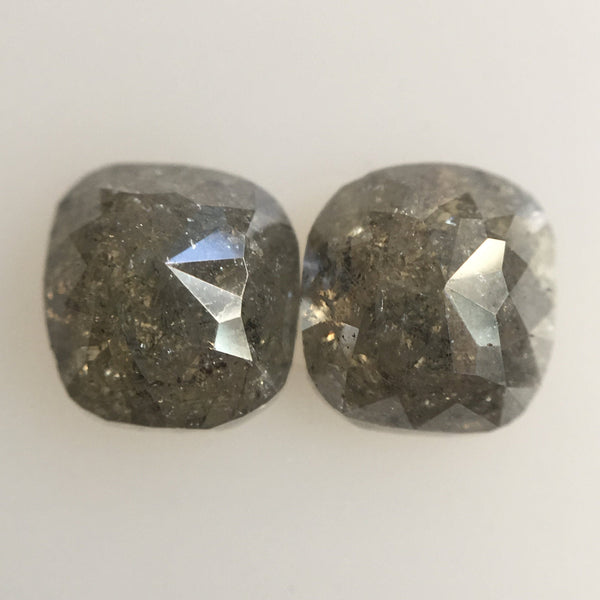 2.57 Carat Natural Cushion Shape Dark Grey Rose cut Loose Diamond 6.10 mm x 6.20 mm Beautiful sparkling, perfect for couple ring AJ04/22 - Amba Jewel