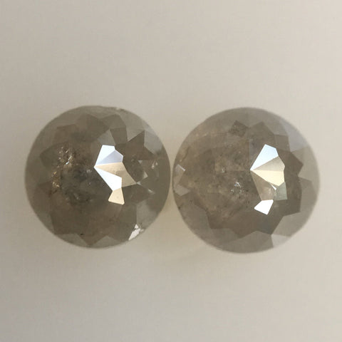 Pair Of 1.62 Ct 5.2 mm Natural Loose Diamond Round Rose Cut Grey Color I3 Clarity, Round Rose cut natural loose diamond AJ06/16 - Amba Jewel