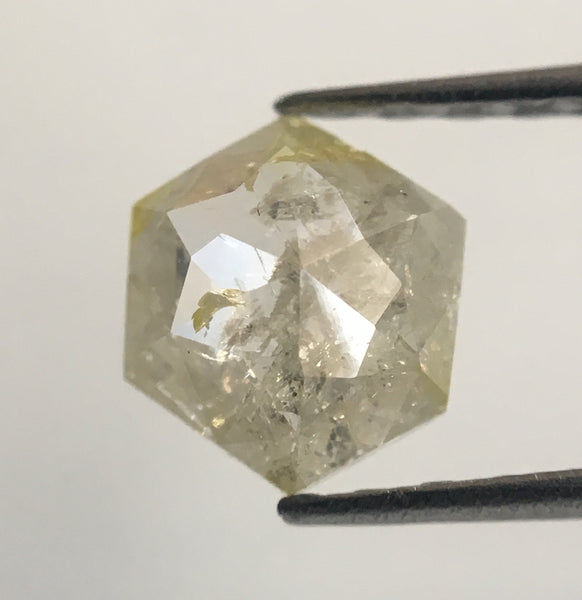 0.64 Ct Yellowish White Color Hexagon Cut Natural Loose Diamond, 6.15 mm X 5.54 mm X 2.46 mm Rose Cut Natural Diamond For Ring AJ12/18 - Amba Jewel
