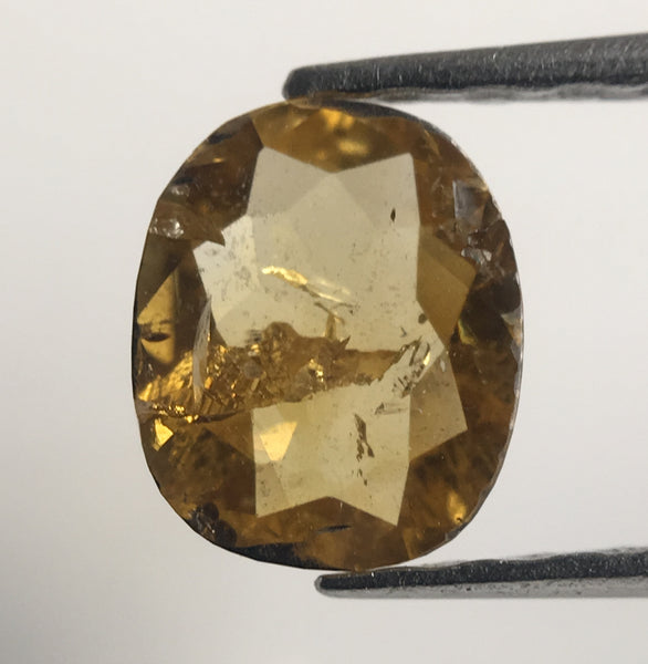 Pair Of 0.87 Ct Oval Shape Fancy Yellow Rare Color Natural Loose Diamond 5.73 mm X 4.7 mm, Oval Shape Rose Cut Natural Loose Diamond SJ41/11 - Amba Jewel