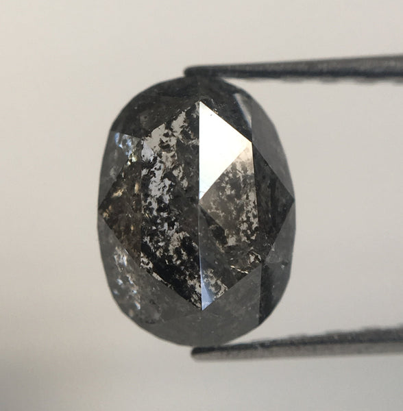 1.49 Ct Natural Loose Diamond Oval Shape Dark Grey Rose cut 7.65 mm x 5.62 mm x 3.62 mm Rustic Natural Loose Diamond SJ28/60 - Amba Jewel