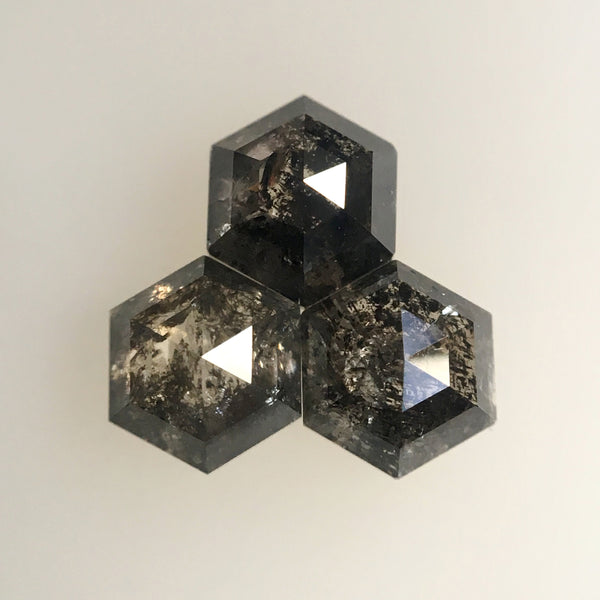 1.08 Ct 3 Pcs Hexagon Shape Natural Loose Diamond, 4.48 mm to 4.57 mm Fancy Color Hexagon Cut loose diamond Use for Jewellery making SJ28/41 - Amba Jewel