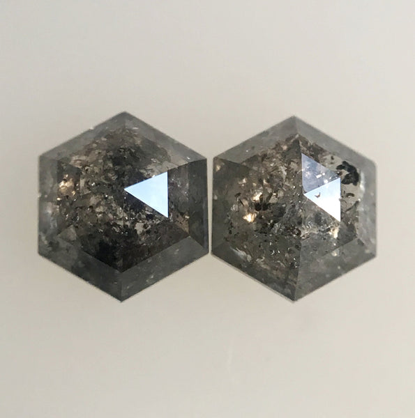 2 Pcs Hexagon Shape Natural Loose Diamond 0.69 Ct 4.72 mm to 4.09 mm Fancy Color Hexagon Cut loose diamond Use for Jewellery making SJ28/42 - Amba Jewel