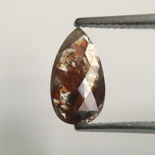 1.21 Ct Pear Shape Brownish Gray Rose Cut Natural Loose Diamond, 11.11 mm X 6.22 mm X 1.76 mm Rose Cut Pear Natural Loose Diamond SJ44/62 - Amba Jewel