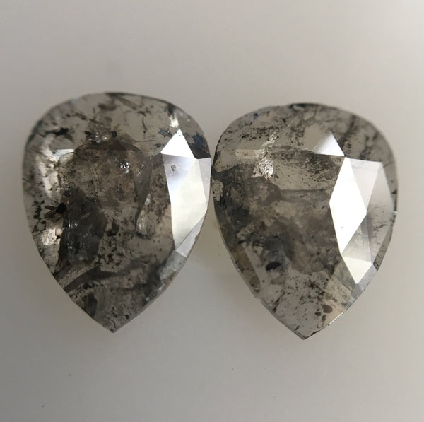 1.41 Ct Pear Shape Grey Rose Cut Natural Loose Diamond, 8.45 mm X 6.52 mm X 1.29 mm Pair Natural Loose Diamond SJ45/11 - Amba Jewel