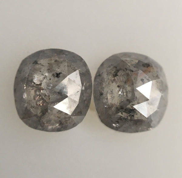 1.59 Ct Pair of Oval shape Rose Cut Grey Natural Diamond, 6.01 mm x 5.57 mm X 2.49 mm Rustic Natural loose diamond  SJ46/32 - Amba Jewel