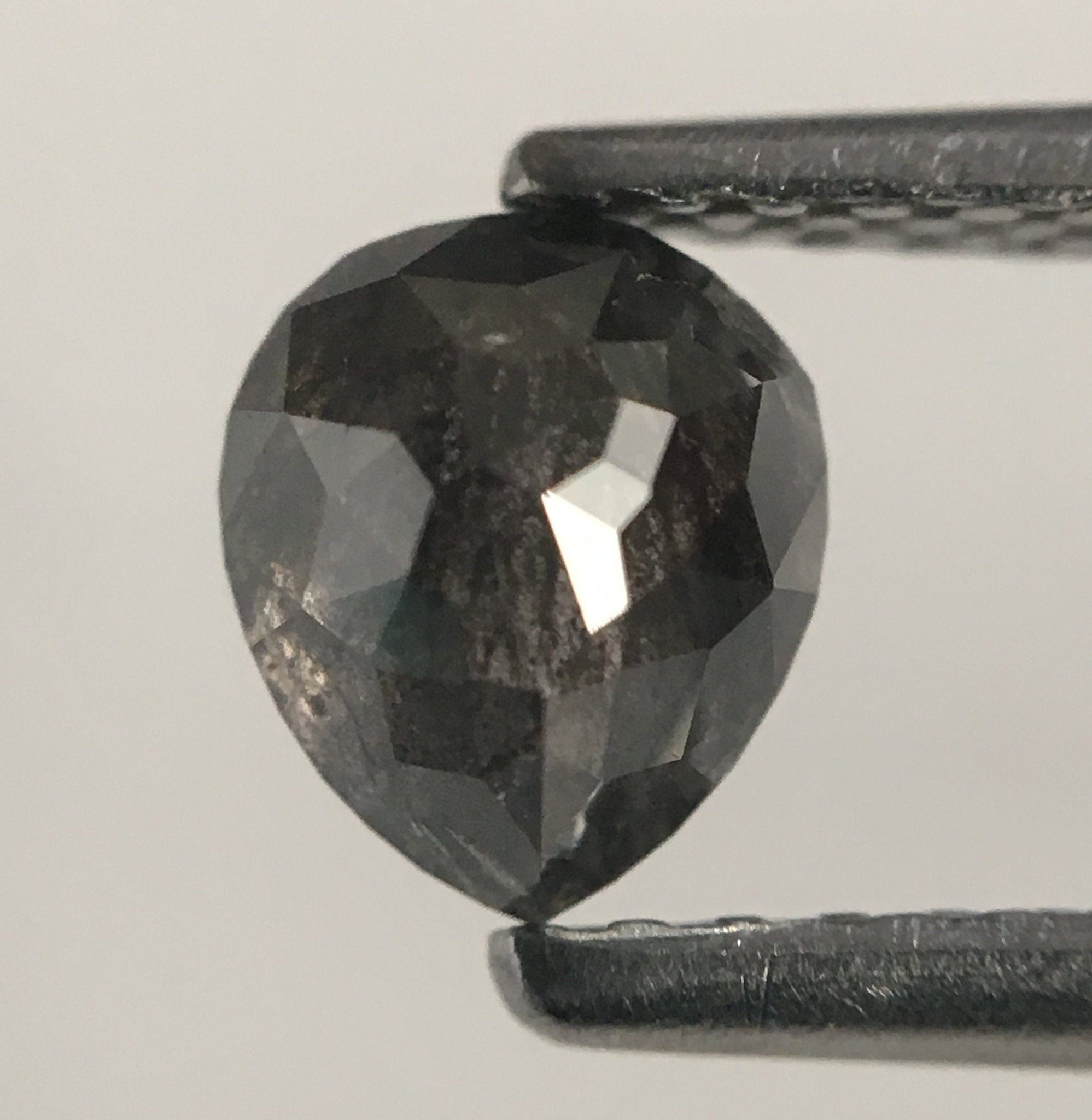 0.66 Ct Pear Cut Loose Natural Diamond Dark Grey 5.48 mm X 4.75 mm X 2.94 mm Grey Rose Cut Pear Natural Loose Diamond SJ47/07 - Amba Jewel