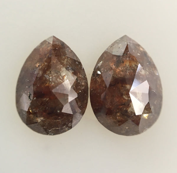 2.89 Ct pair diamonds 9.20 mm X 6.68 mm X 3.00 mm Pear Shape Brownish red Rose cut Natural Loose Diamond for Earrings SJ01/21 - Amba Jewel