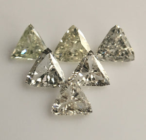 0.44 Ct 6 Pcs Triangle Shape Natural Loose Diamond, 2.97 mm to 3.33 mm G/H Color SI clarity White Natural Diamond SJ39/45 - Amba Jewel