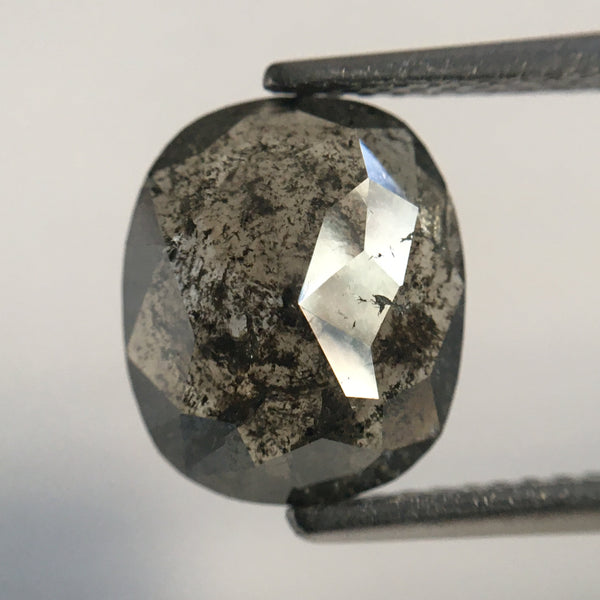 2.38 Ct Oval Shape Rose cut Salt and Pepper Natural Diamond, 10.29 mm X 8.63 mm X 2.96 mm Beautiful sparkling Natural Loose Diamond SJ49/44 - Amba Jewel