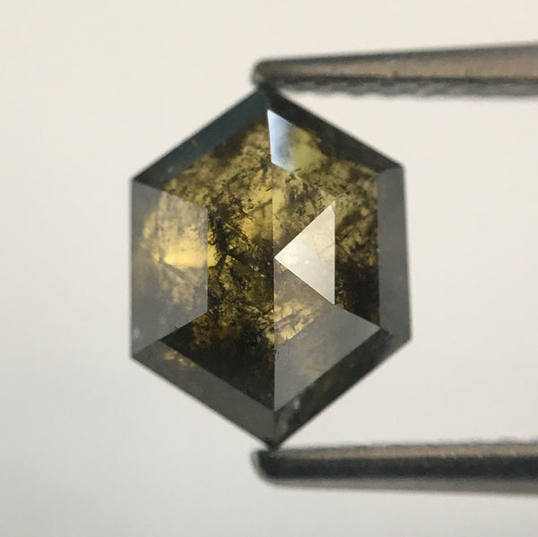 2.22 Ct Greenish Brown Hexagon Shape Natural Loose Diamond, 8.83 mm X 6.83 mm X 4.26 mm Loose diamond Use for Jewellery making SJ49/47 - Amba Jewel