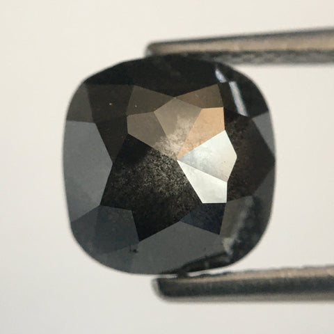 2.80 Ct Salt and Pepper Rose Cut Cushion Shape Natural Loose Diamond, 7.89 mm X 7.70 mm x 4.57 mm Natural Diamond for Jewelry SJ49/48 - Amba Jewel