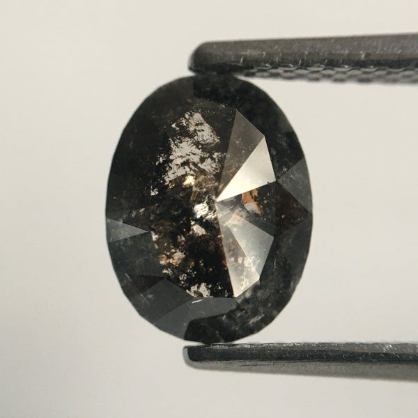 1.17 Ct Salt and Pepper Natural Oval Shape loose Diamond 8.37 mm X 6.44 mm X 2.45 mm  SJ49/70 - Amba Jewel