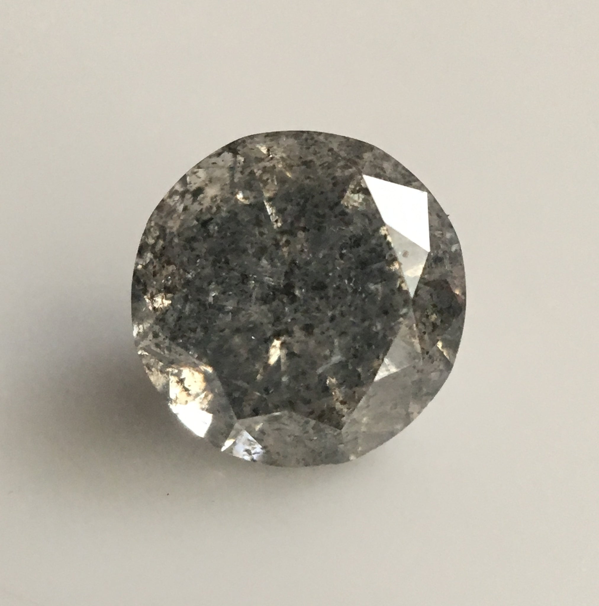 0.46 Ct Salt and Pepper Round Brilliant Cut Natural Loose Diamond, 4.90 mm X 3.18 mm Gray Color Natural Loose Diamond SJ34/94 - Amba Jewel