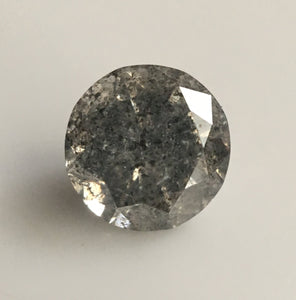 0.46 Ct Salt and Pepper Round Brilliant Cut Natural Diamond, 4.90 mm X 3.18 mm Gray Color Natural Diamond SJ34/94 - Amba Jewel