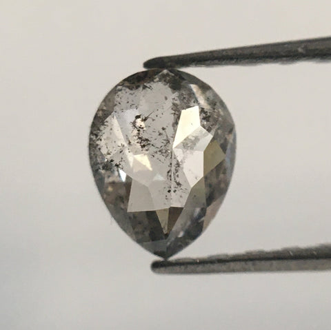 0.44 Ct Natural Diamond Fancy Grey Rose Cut Diamond, 5.63 mm x 4.37 mm x 2.04 mm Grey Rose Cut Pear Diamond SJ52/03 - Amba Jewel
