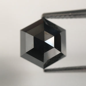 3.35 Ct Hexagon Shape Black Heated Color Natural Loose Diamond, 9.54 mm X 8.21 mm X 5.15 mm Hexagon Brilliant Cut Natural Diamond SJ55/11 - Amba Jewel