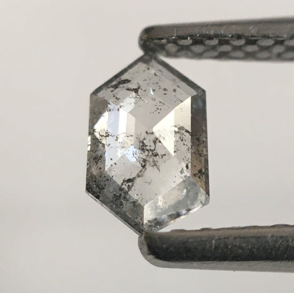 0.31 Ct Hexagon Shape Light Gray Natural Diamond, 5.76 mm X 3.55 mm X 1.52 mm Rusty Translucent Rose Cut Natural Diamond SJ53/06 - Amba Jewel