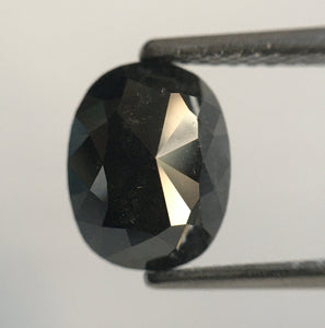 2.89 Ct Oval Shape Dark Grey Black Color Natural Diamond 8.62 mm X 6.75 mm X 4.99 mm Oval Cut Rose Cut Natural Diamond SJ54/13 - Amba Jewel