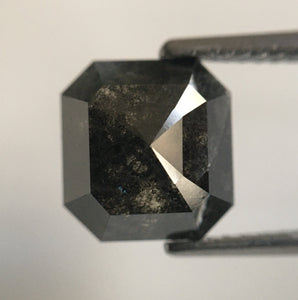3.30 Ct Emerald Shape Black Grey Natural Loose Diamond 8.41 mm X 7.91 mm X 4.79 mm Salt and Pepper Natural Loose Diamond SJ54/41 - Amba Jewel