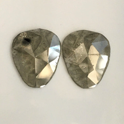 Pair 5.54 Ct 13.88 mm X 11.44 mm X 2.01 mm Fancy Grey Color Slice Pear Shape  Natural Diamond, Rose Cut Natural Diamond SJ55/57 - Amba Jewel