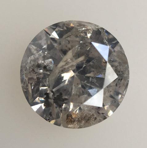 1.13 Ct Natural Diamond Round Brilliant Grey Salt And Pepper Color i3 Clarity 6.64 MM x 3.97 MM, Round Diamond SJ34/126 - Amba Jewel
