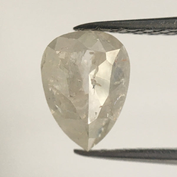 Genuine 0.86 Ct Fancy Gray Color 7.40 mm X 5.50 mm Pear Cut Loose Natural Diamond, Light Grey  SJ11/10 - Amba Jewel