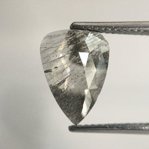1.80 Ct Pear Shape Gray Rose Cut Slice Natural Diamond, 11.72 MM x 8.60 MM x 1.83 MM  Diamond, Rose Cut Diamond, SJ65/16 - Amba Jewel