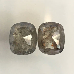 3.18 Ct Gray Color Elongated Cushion Shape Natural Loose Diamond Pair, 8.52 mm x 7.11 mm X 3.10 mm Rose Cut Natural loose diamond AJ11/09 - Amba Jewel