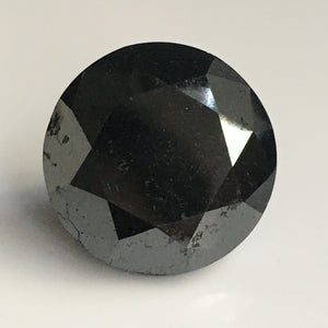 40.13 Ct Round brilliant cut  natural diamond, 20.22 MM x 15.46 MM Heated black color round cut  diamond for Jewelry SJ-Blk - Amba Jewel