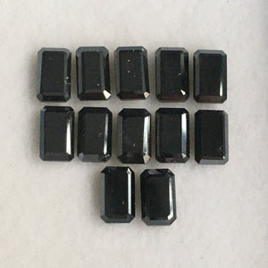 Natural Diamond Emerald Shape Heated Black Diamond, 5.00 mm X 3.00 mm Both Side Polished  Diamond for Jewelry SJBUY - Amba Jewel