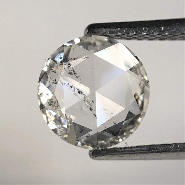 1.05 Ct White Round Rose Cut Natural Diamond 7.70 mm x 1.87 mm, White Color Round Shape Natural Diamond SJ39/50 - Amba Jewel