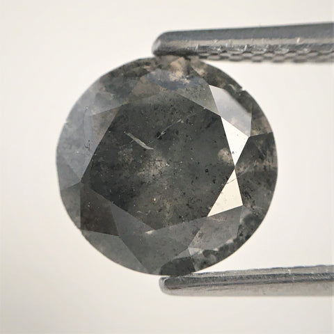 2.31 Dark Gray Color Round Brilliant Cut Natural Diamond, 8.20 mm x 5.41 mm Grey Round  Diamond, SJ03/42 - Amba Jewel