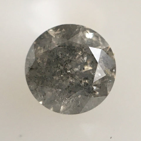 0.49 Ct Gray Natural Diamond, 4.70 mm x 3.30 mm round brilliant cut diamond, Rustic Diamond, Salt and pepper diamond SJ16/01 - Amba Jewel