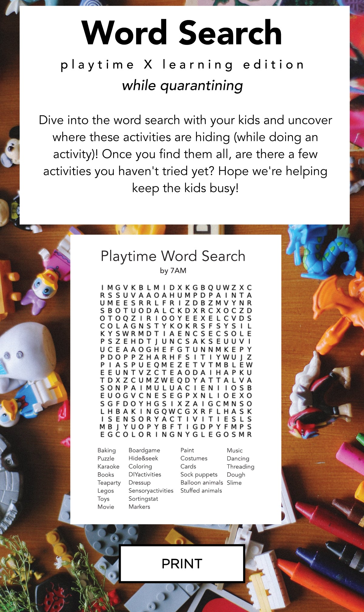 7AM Enfant playtime word search