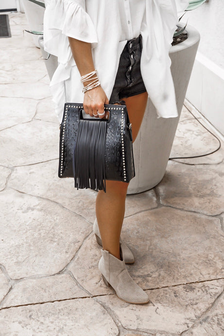 MIDNIGHT STUDDED FRINGE TOTE
