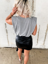 Load image into Gallery viewer, BAD BABE ASYMMETRICAL FAUX LEATHER MINI SKIRT