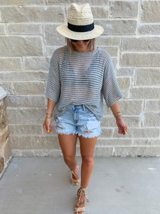 PERFECT HIGHWAISTED DENIM DISTRESSED SHORTS- LIGHTWASH