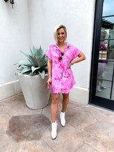 Load image into Gallery viewer, NEON FLAMINGO TIE DYED FRAYED OXFORD TUNIC