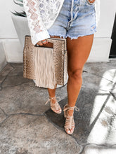 Load image into Gallery viewer, MIDNIGHT STUDDED FRINGE TOTE
