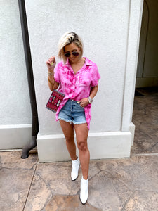 NEON FLAMINGO TIE DYED FRAYED OXFORD TUNIC